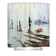 Shrimp Boat With Evening Lights Shower Curtain