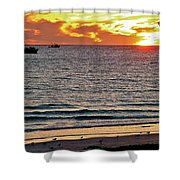 Shrimp Boats And Gulls Over Sea Of Cortez At Sunset From Playa Bonita Beach-mexico Shower Curtain