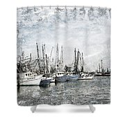Shrimp Boats Sketch Photo Shower Curtain