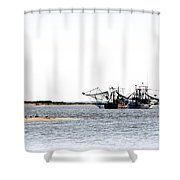 Shrimpers With Pelicans - Waiting On Shore Shower Curtain
