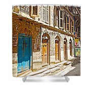 Shutters And Doors Along The Street In Bhaktapur-city Of Devotees-nepal  Shower Curtain