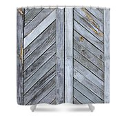 Weathered Wooden Shutters Shower Curtain