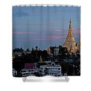 Shwedagon Pagoda In Yangon Myanmar Shower Curtain