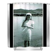 Shy Girl With New Easter Dress Shower Curtain