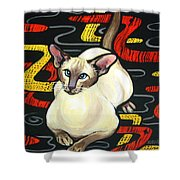 Siamese Cat On A Cushion Shower Curtain