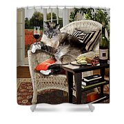 Funny Pet A Wine Bibbing Kitty  Shower Curtain