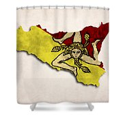 Sicily Map Art With Flag Design Shower Curtain