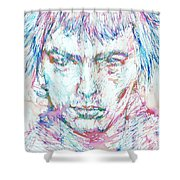 Sid Vicious - Colored Pens Portrait Shower Curtain