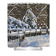 Side Cut Park Winter Wonderland Shower Curtain