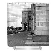 Side Entrance Bw Shower Curtain