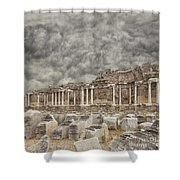 Side Nymphaeum Fountain Ruins Shower Curtain