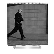 Side Profile Of A Businessman Running Shower Curtain