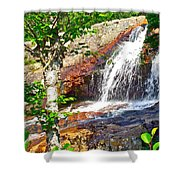 Side View Of Southeast Brook Falls In Gros Morne Np-nl Shower Curtain