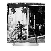 Sidewalk Banjo Plucker In French Quarter Shower Curtain