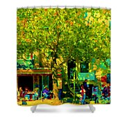 Sidewalk Cafe Rue St Denis Dappled Sunlight Shade Trees Joys Of Montreal City Scene  Carole Spandau Shower Curtain