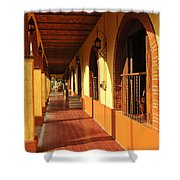 Sidewalk In Tlaquepaque District Of Guadalajara Shower Curtain by Elena Elisseeva