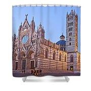 Siena Duomo At Sunset Shower Curtain by Liz Leyden