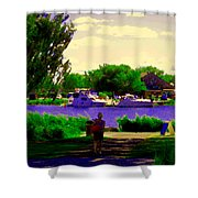 Sights Along The Harbor Late Day Stroll Lachine Canal Bike Path Montreal Scenes Carole Spandau Shower Curtain