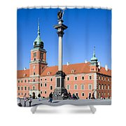 Sigismund's Column And Royal Castle In Warsaw Shower Curtain