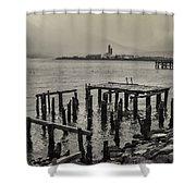 Siglufjordur Old Pier Black And White Shower Curtain