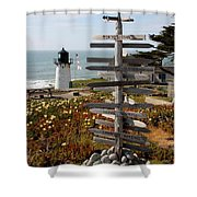 Sign At Point Montara Shower Curtain