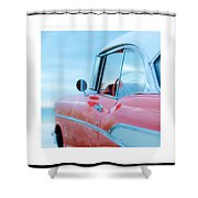 Signed Chevy Belair At The Beach Mini Shower Curtain