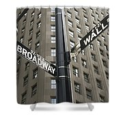 Signs For Broadway And Wall Street Shower Curtain