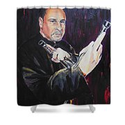 Pencak Silat - Pelatih Johnny Dutrieux Shower Curtain