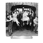 Silent Film Still: Parties Shower Curtain