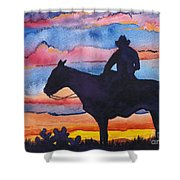 Silhouette Cowboy Shower Curtain
