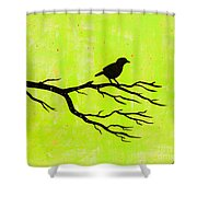 Silhouette Green Shower Curtain