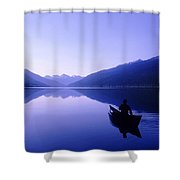 Silhouette Of A Canoeist At Sunrise Shower Curtain
