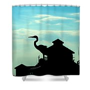 Silhouette Of A Heron Shower Curtain