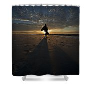 Silhouette Of A Man Wearing Hat And The Bag In Hand Walking On The Seashore Shower Curtain