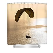 Silhouette Of A Paraglider Flying Shower Curtain