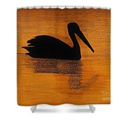 Silhouette Of A Pelican Shower Curtain