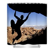 Silhouette Of A Rock Climber Shower Curtain