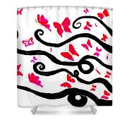 Silhouette Of A Woman With Pink Butterflies Shower Curtain