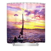 Silhouette Of Boat And Sailors On Torch Lake Michigan Usa Shower Curtain