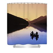 Silhouette Of Canoeists, Bowron Lake Shower Curtain