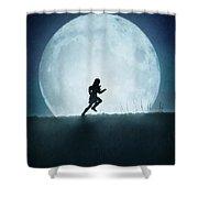 Silhouette Of Girl Running Against Full Moon Shower Curtain