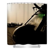Silhouette Of Hellenic Air Force Search Shower Curtain