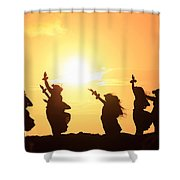 Silhouette Of Hula Dancers At Sunrise Shower Curtain