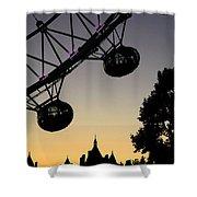 Silhouette Of London Eye Shower Curtain