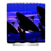 Silhouette Of Satellite Dishes Shower Curtain