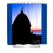 Silhouette Of Vernazza Duomo Dome Shower Curtain