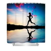 Silhouette Of Woman Running At Sunset Shower Curtain