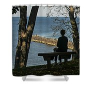 Silhouette On The Hill Shower Curtain