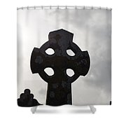 Silhouetted Celtic Cross Shower Curtain