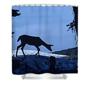 Silhouetted Deer Shower Curtain